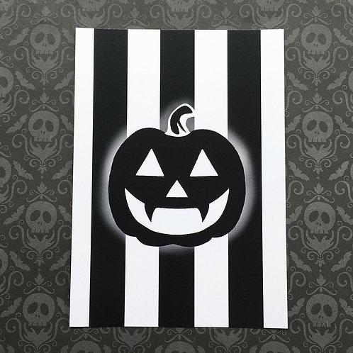 Gothic Pumpkin Print (White)