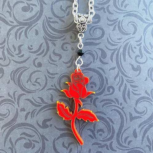 Gothic Red Rose Necklace