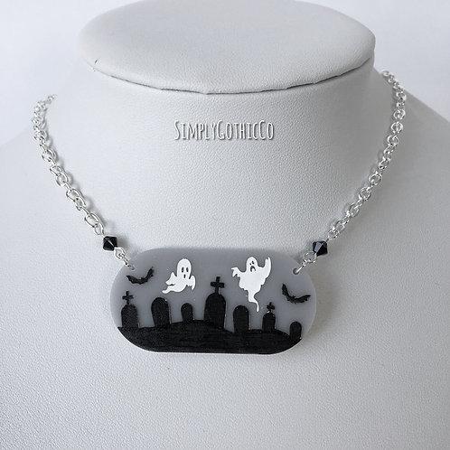 Gothic 'Creepy Cute' Graveyard Necklace (Grey)