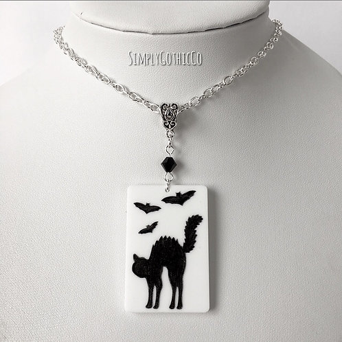 Gothic Spooky Cat and Bat Necklace