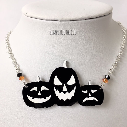 Gothic Pumpkin Patch Silhouette Necklace