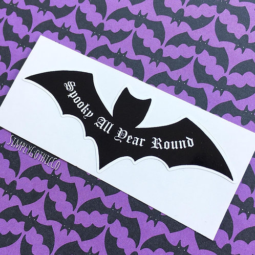 'Spooky All Year Round' Bat Vinyl Sticker