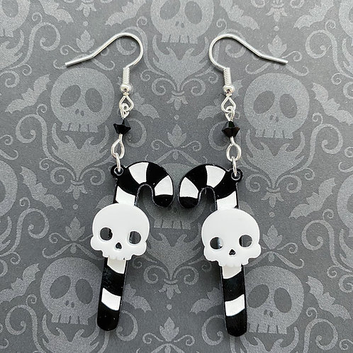 Gothic Candy Cane Earrings - White Skull