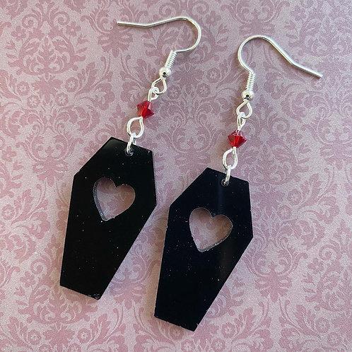 Gothic Black Heart Coffin Earrings