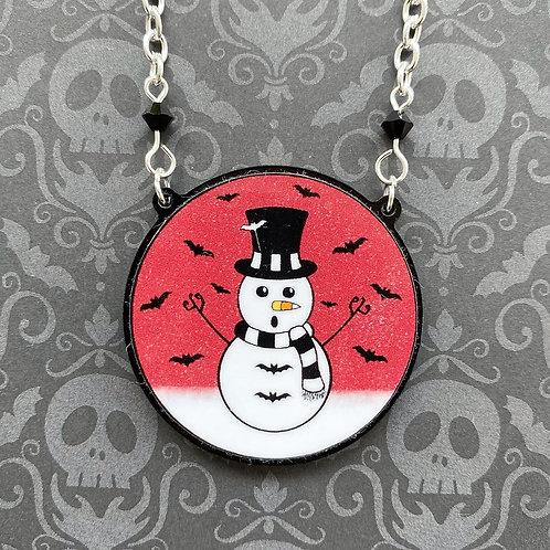 Gothic Spooky Snowman Necklace