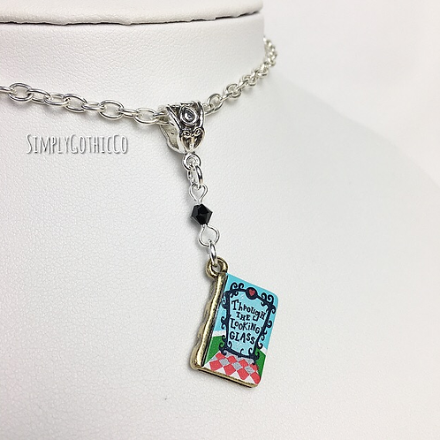 Gothic Alice Through The Looking Glass Book Necklace - 1 Available