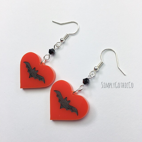 Gothic Bat Heart Earrings