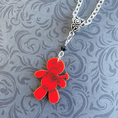 Gothic Voodoo Doll Necklace (Red)