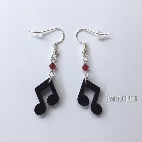 Limited Edition - Black Quaver Note Earrings