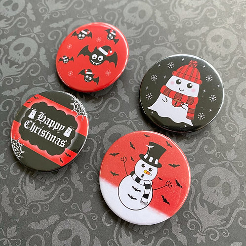 Gothic Spooky Christmas Pin Badge Set