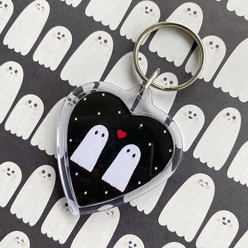 Gothic Ghost Love Heart Keyring