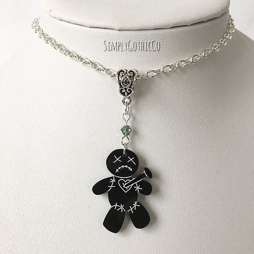 Gothic Voodoo Doll Necklace (Black)