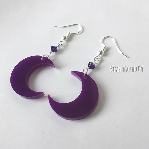 Gothic Purple Moon Earrings
