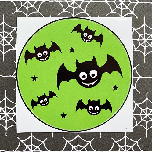 Gothic Baby Bats Green Sticker
