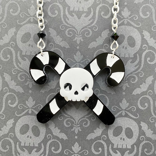 Gothic Crossed Candy Cane Necklace (white skull)
