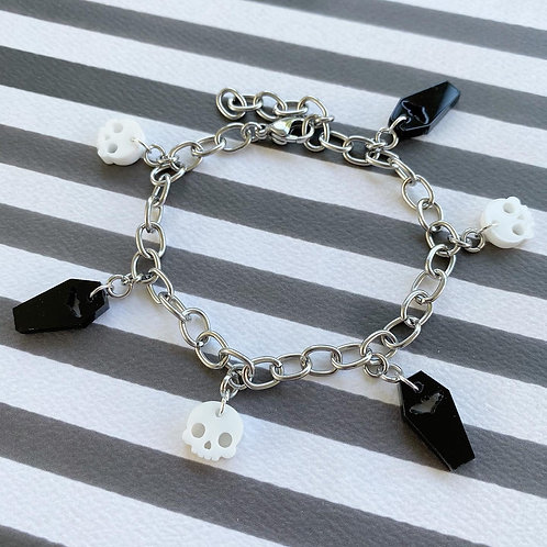 Gothic Stainless Steel Spooky Charm Bracelet