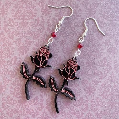 Gothic Black Rose Earrings