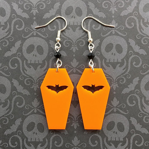 Gothic Orange Bat Coffin Earrings