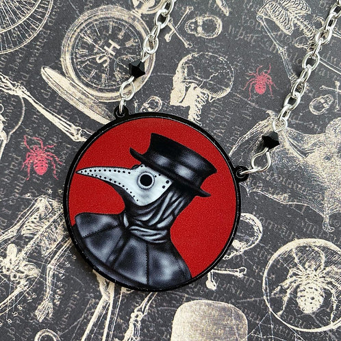 Gothic Plague Doctor (Red) Necklace