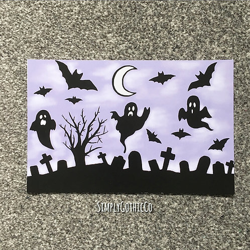 Gothic Purple Creepy Cute Art Print