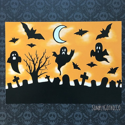 Gothic Halloween Graveyard Scene Print - A5