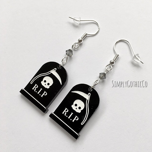 Subscription Box Special - Gothic 'RIP' Tombstone Earrings