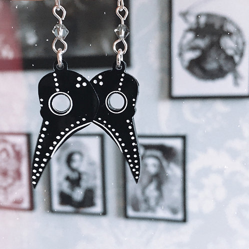 Gothic Plague Doctor Mask Earrings