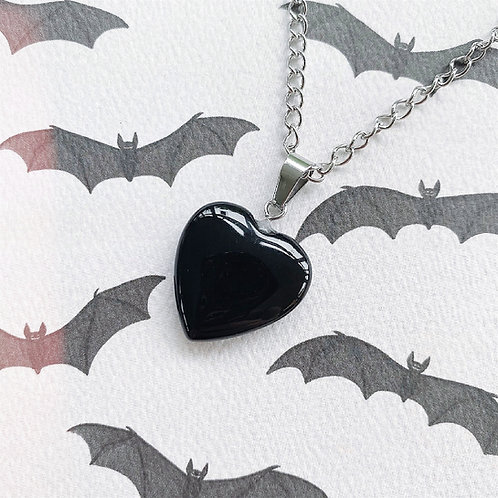 Gothic Black (Dyed) Agate Heart Necklace