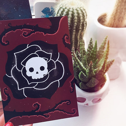 Gothic Skull Flower Art Print - Choice of A5 or A6