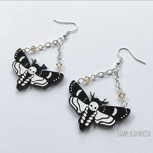 Gothic Death Head Moth Earrings