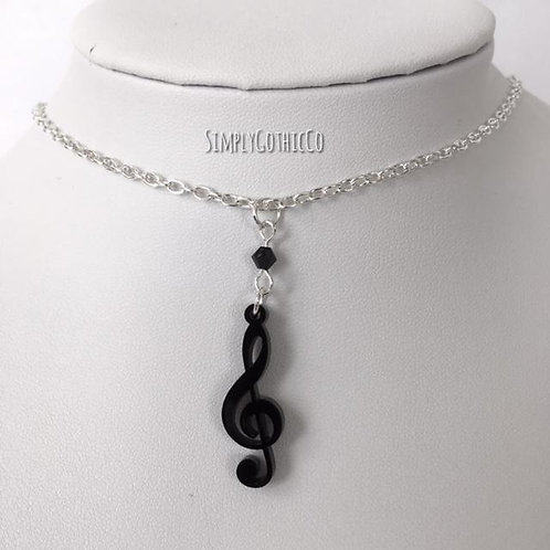 Limited Edition - Black Treble Clef Necklace