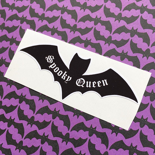 Gothic 'Spooky Queen' Bat Sticker