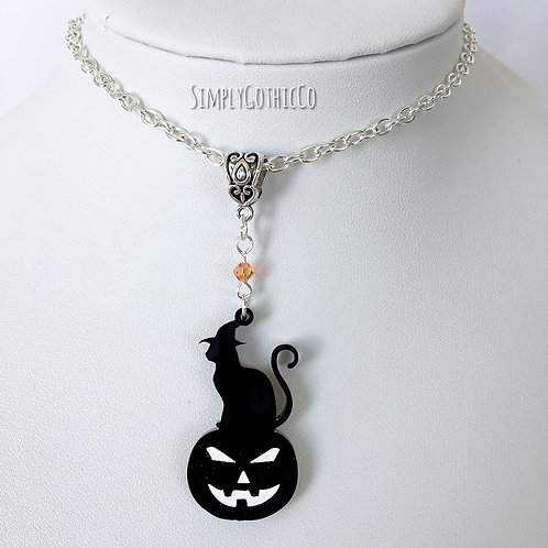 Gothic Cat on Pumpkin Necklace - Choice of Size