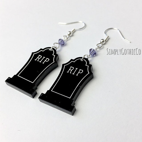 Gothic Black RIP Tombstone Earrings
