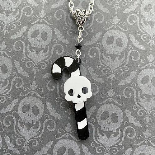 Gothic Single Candy Cane Necklace- White
