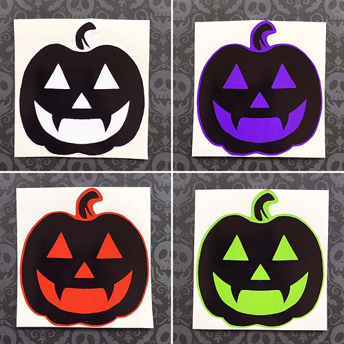 Gothic Black Pumpkin Sticker - Choice of 4 colours