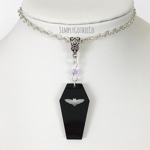 Gothic Bat Coffin Necklace
