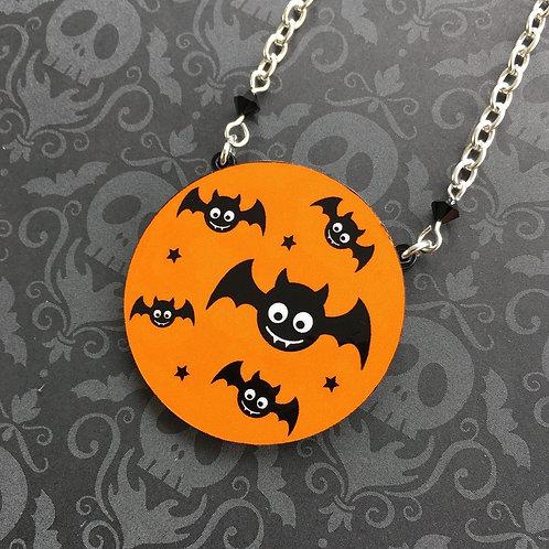 Gothic Orange Baby Bat Necklace