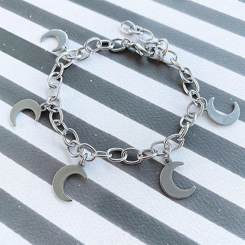 Gothic Stainless Steel Moon Charm Bracelet