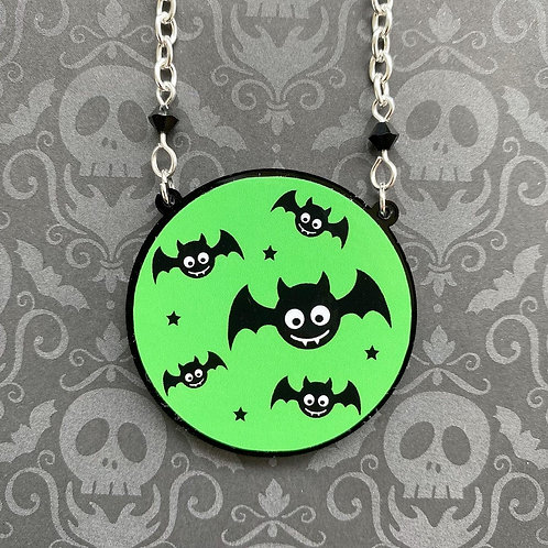 Gothic Green Baby Bat Necklace