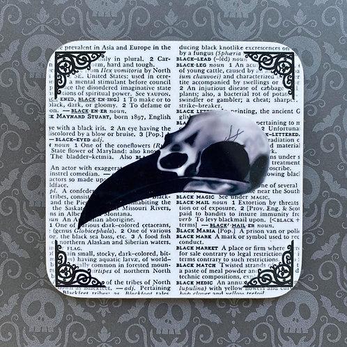 Gothic Crow Skull Coaster