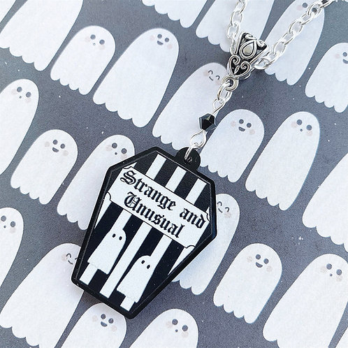 Gothic 'Strange and Unusual' Striped Coffin Necklace