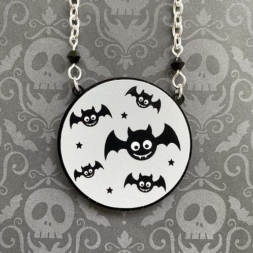 Gothic Grey Baby Bat Necklace