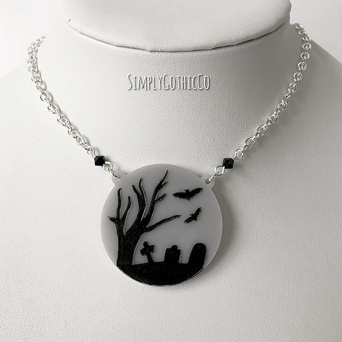 Gothic Graveyard Scene Necklace