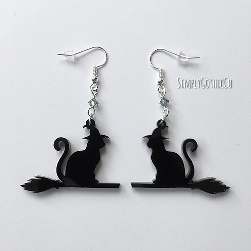 Subscription Box Special - Gothic Witches Cat Earrings