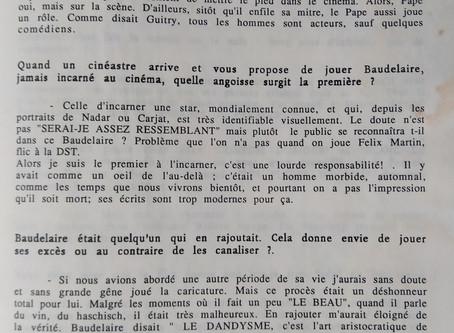 Entretien avec Antoine Duléry en Charles Baudelaire