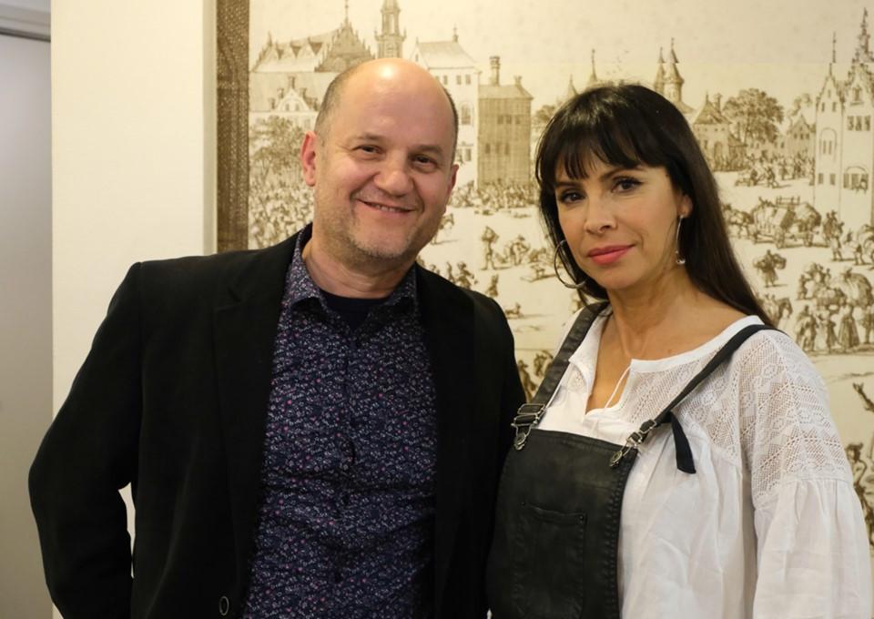 """Mathilda MAY et Pierre GAFFIÉ, lors de l'enregistrement de l'émission """"Obliques"""" sur Fréquence Protestante, Mai 2019"""