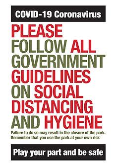 Covid-19 Jubliee Park hygeine guidelines
