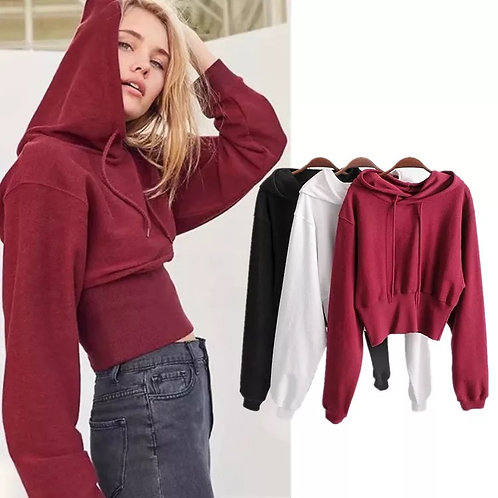 3/4 tight waist bubble hoodie