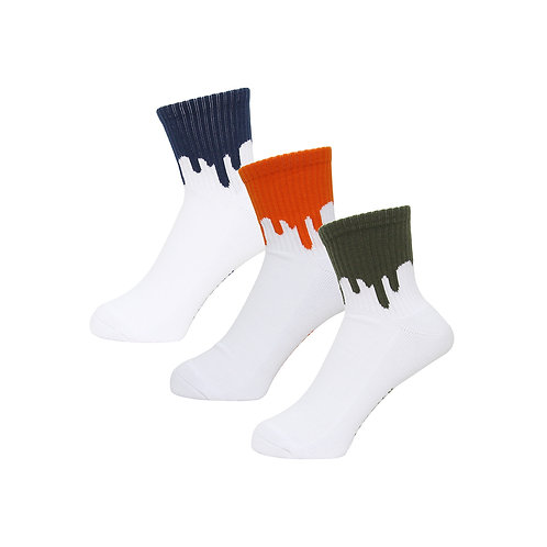 LIXTICK DRIP SOCKS 3PACK (3RD) NAVY,ORANGE,KHAKI
